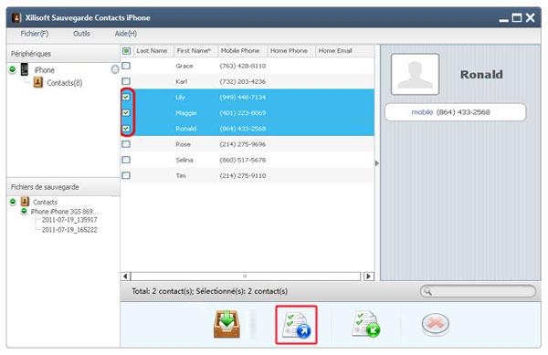 comment sauvegarder les contacts iphone dans PC